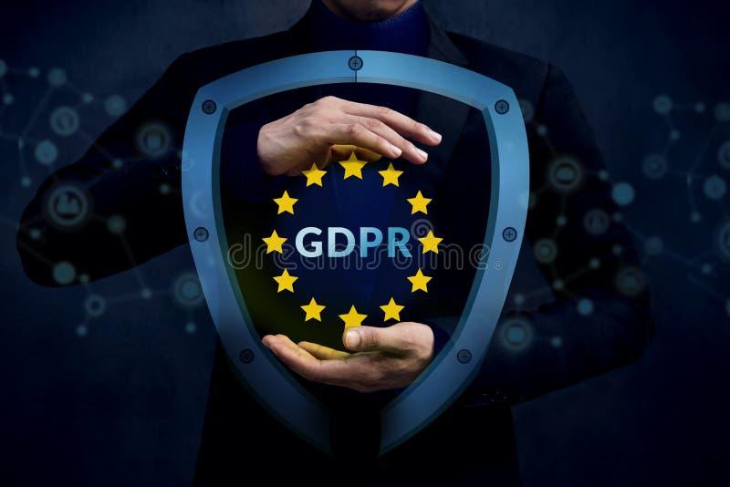Conceito da segurança de GDPR, regulamento geral Protec da proteção de dados imagens de stock