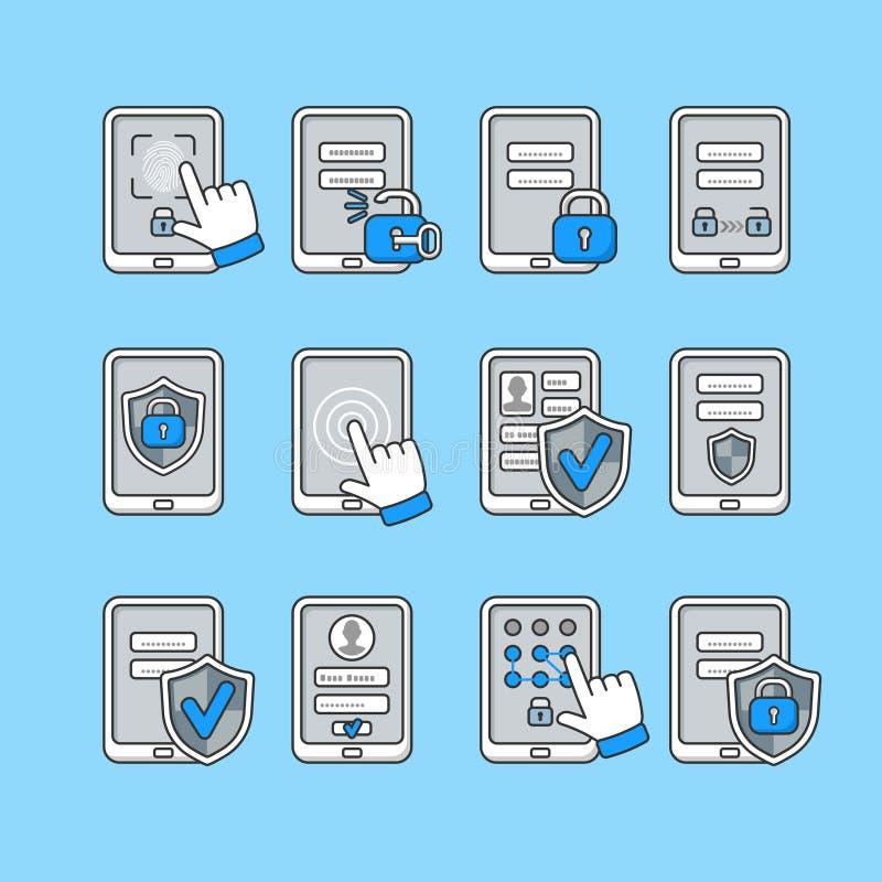 Conceito da segurança de Smartphone Ícones do vetor ajustados da segurança móvel Chave e fechamento da senha no smartphone ilustração stock