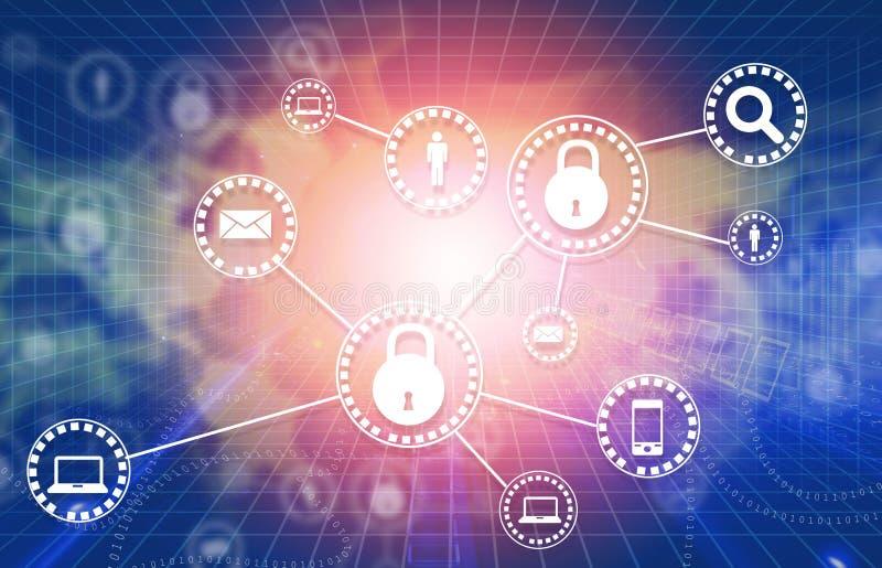 Conceito da segurança do Cyber ilustração do vetor