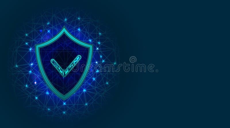Conceito da segurança do Cyber com ícone do protetor Proteção de privacidade da segurança, da informação ou dos dados digitais do ilustração stock