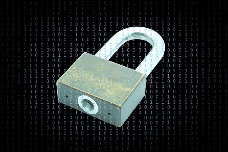 Conceito da segurança do Cyber, proteção da informação crítica pelo código de acesso imagens de stock
