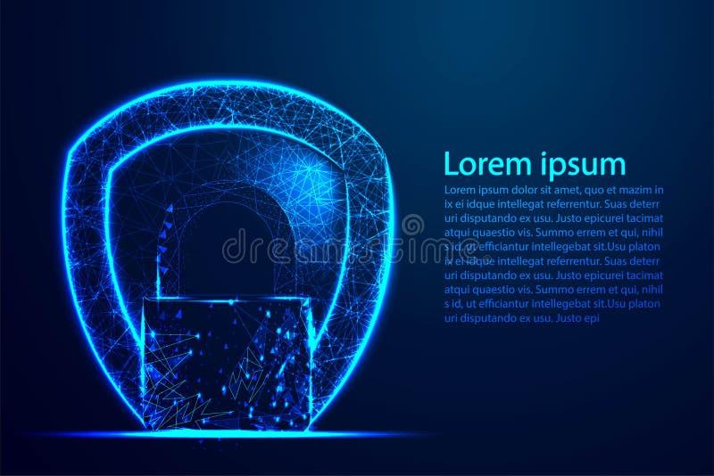 Conceito da segurança do Cyber, proteção do protetor, fechamento, segurança, cadeado, buraco da fechadura Malha poli do fio do su ilustração do vetor