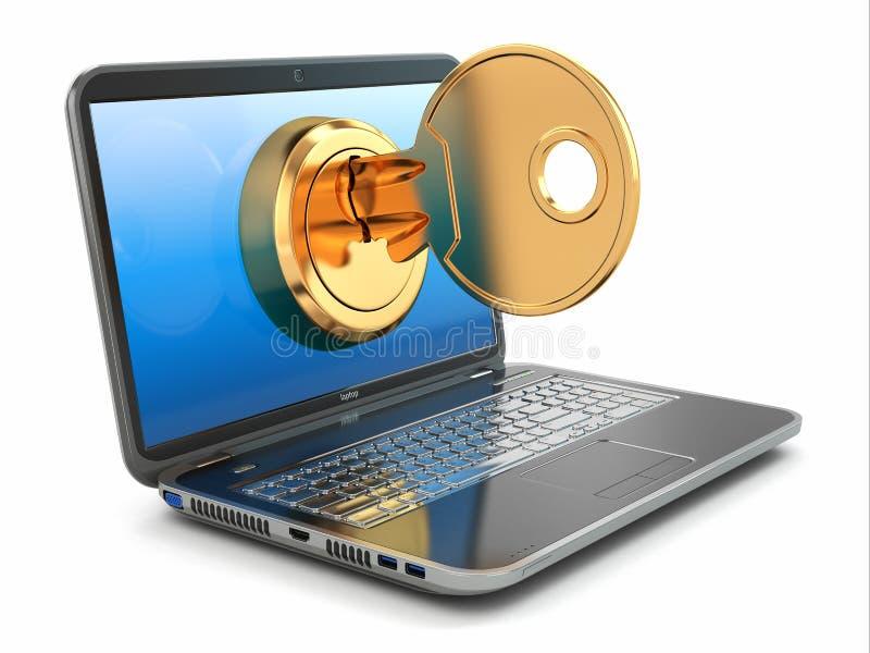 Conceito da segurança do Internet. Chave e portátil. ilustração stock
