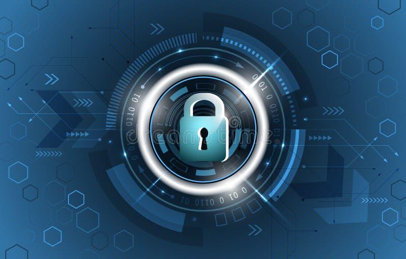 Conceito da segurança Fundo tecnologico da segurança global Cadeado fechado, brilho, placa de circuito e formas do hexágono ilustração stock