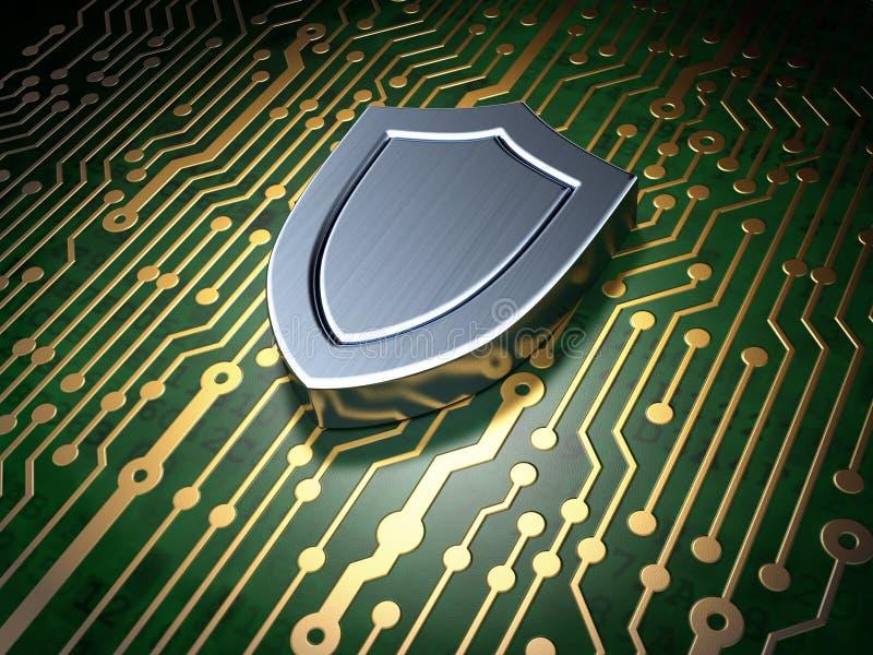 Conceito da segurança: placa de circuito com ícone do protetor ilustração royalty free