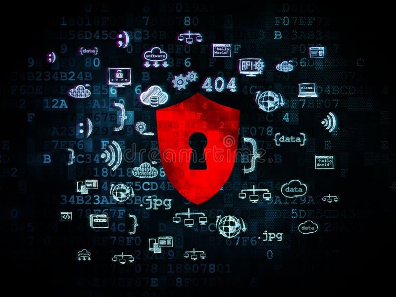 Conceito da segurança: Protetor com o buraco da fechadura em Digitas imagens de stock