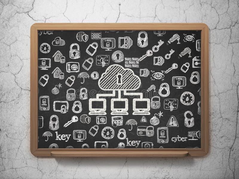 Conceito da segurança: Rede da nuvem na administração da escola imagem de stock