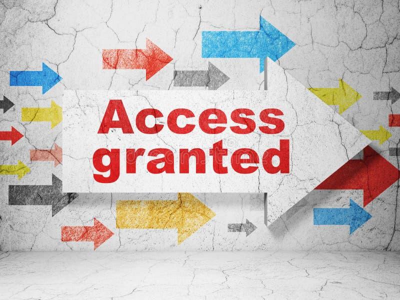Conceito da segurança: seta com o acesso concedido no fundo da parede do grunge ilustração royalty free