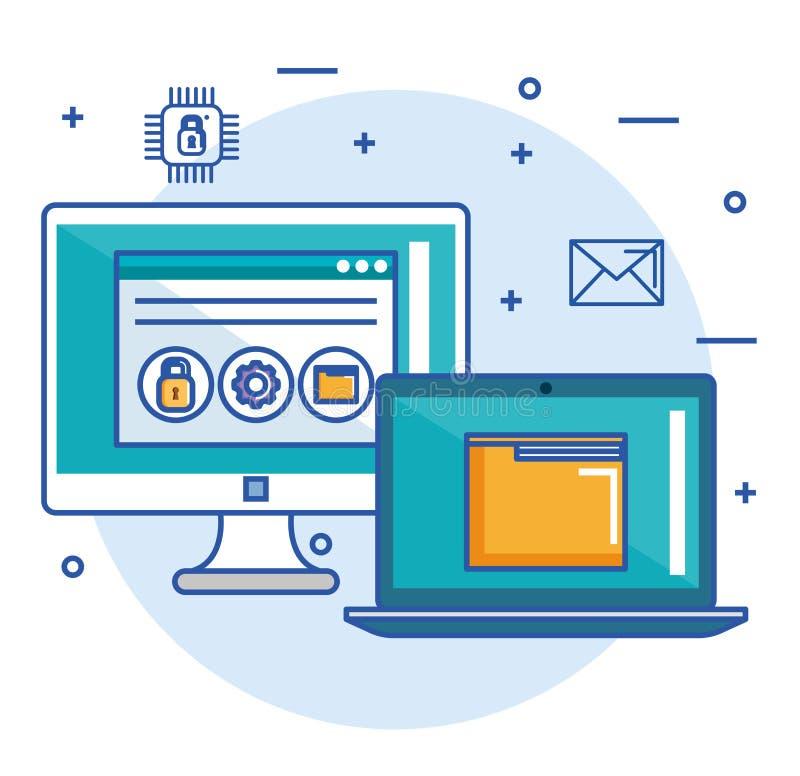 Conceito da segurança da site do arquivo do dobrador do portátil do computador ilustração stock