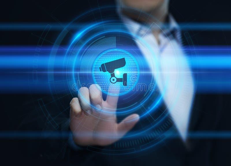 Conceito da segurança da tecnologia do negócio do sistema de segurança da câmera do CCTV fotos de stock