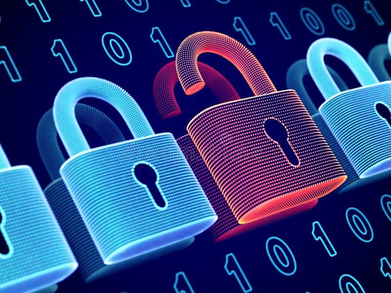 Conceito da seguran?a de dados e da privacidade Visualização da segurança pessoal ou do negócio da informação ilustração stock