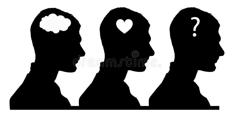 Conceito da seleção cérebro, coração ou alma ilustração royalty free