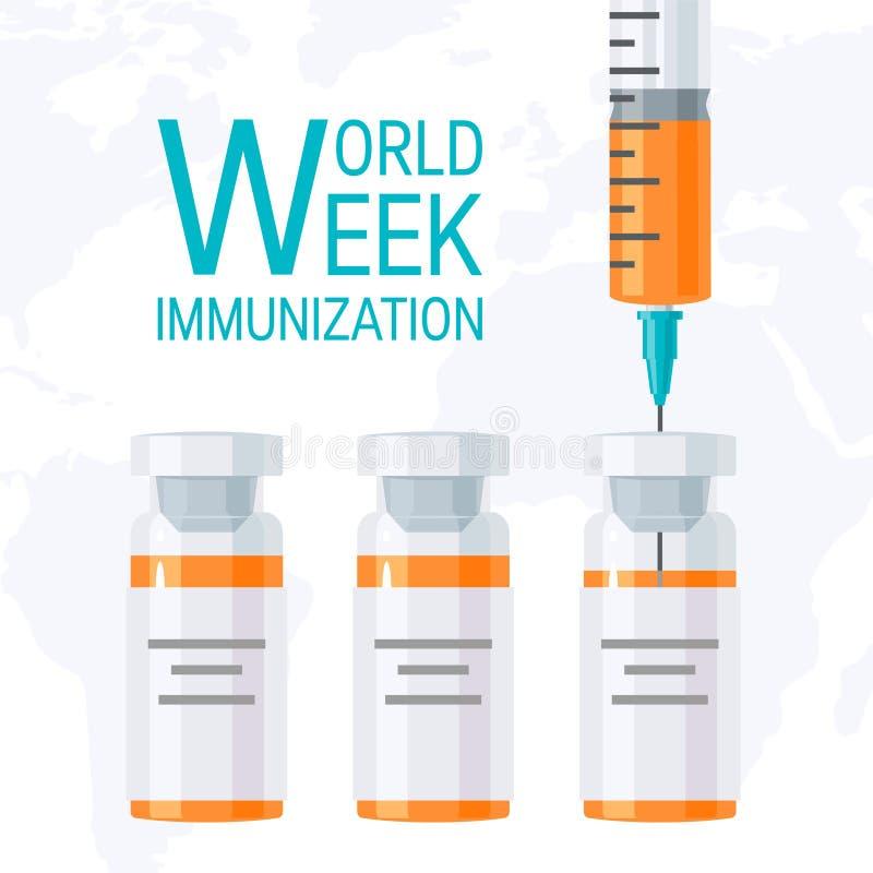 Conceito da semana da imunização do mundo, projeto liso do vetor ilustração royalty free