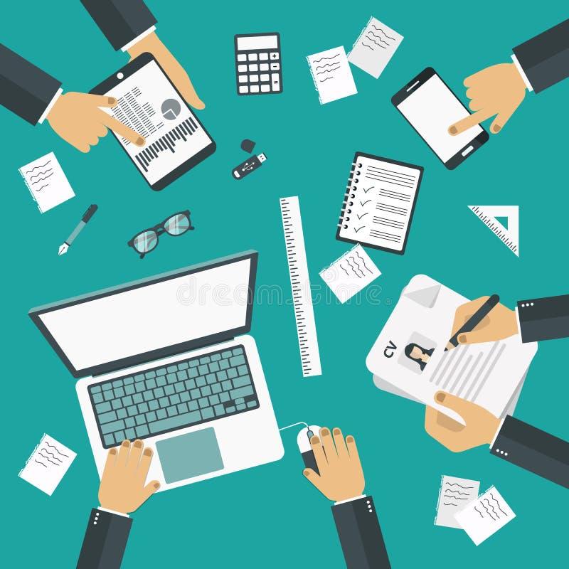 Conceito da sessão de reflexão Reunião de negócio teamwork Mesa do trabalho com wquipment do escritório ilustração royalty free