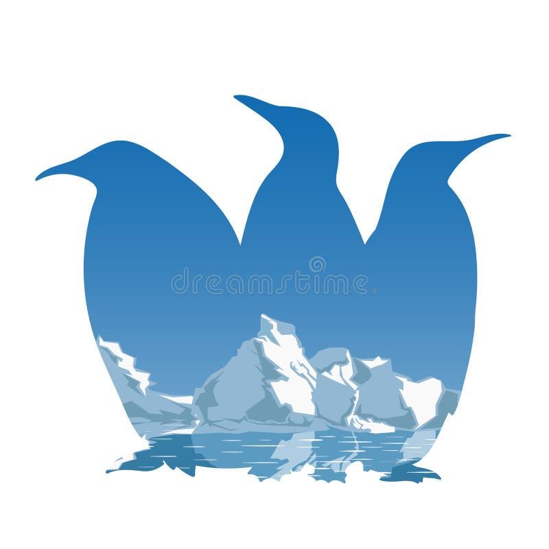 Conceito da silhueta de três pinguins ilustração do vetor