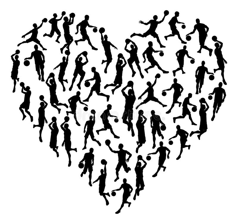 Conceito da silhueta do coração de Bsketball ilustração do vetor