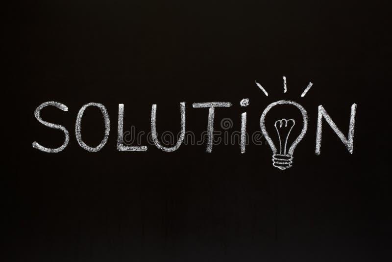 Conceito da solução no quadro-negro imagem de stock