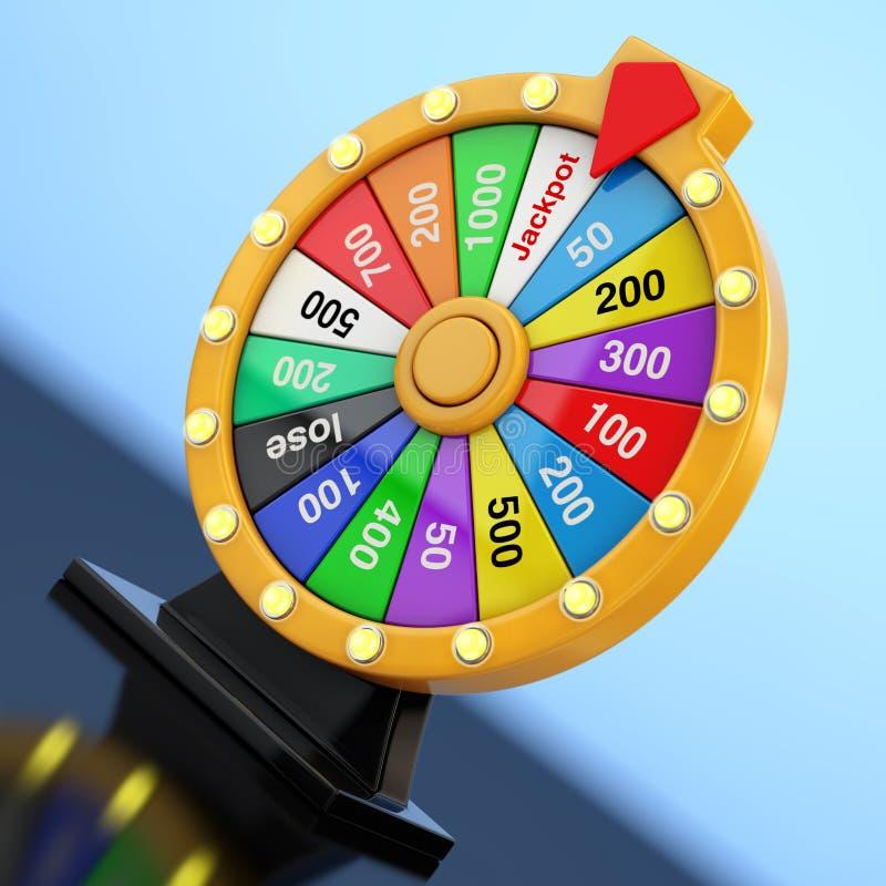 Conceito da sorte e da fortuna Roda colorida de giro da fortuna 3d com referência a ilustração stock