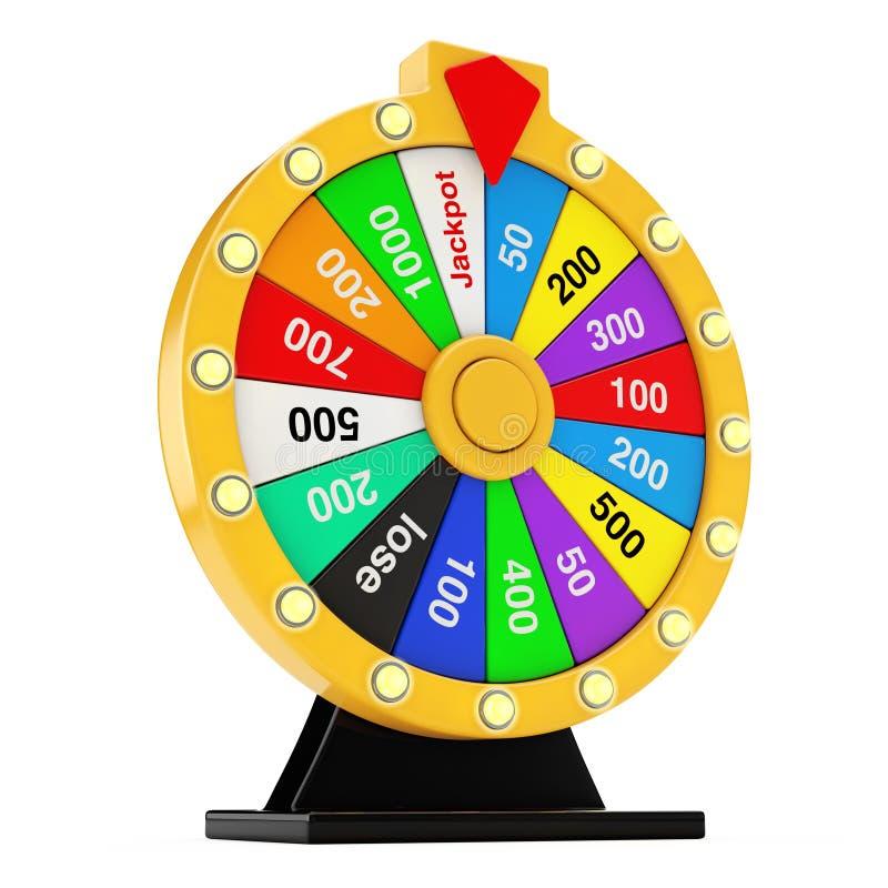 Conceito da sorte e da fortuna Roda colorida de giro da fortuna 3d com referência a ilustração do vetor