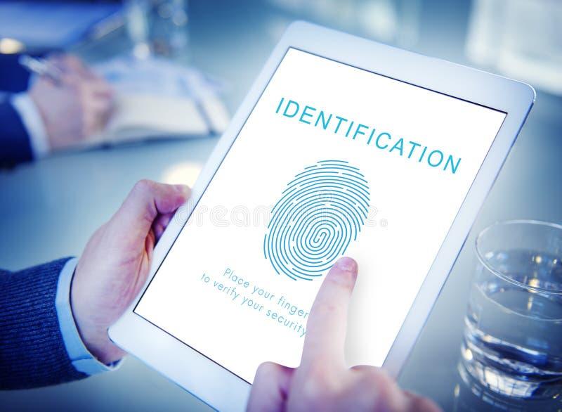 Conceito da tecnologia da biométrica da senha da impressão digital imagens de stock royalty free