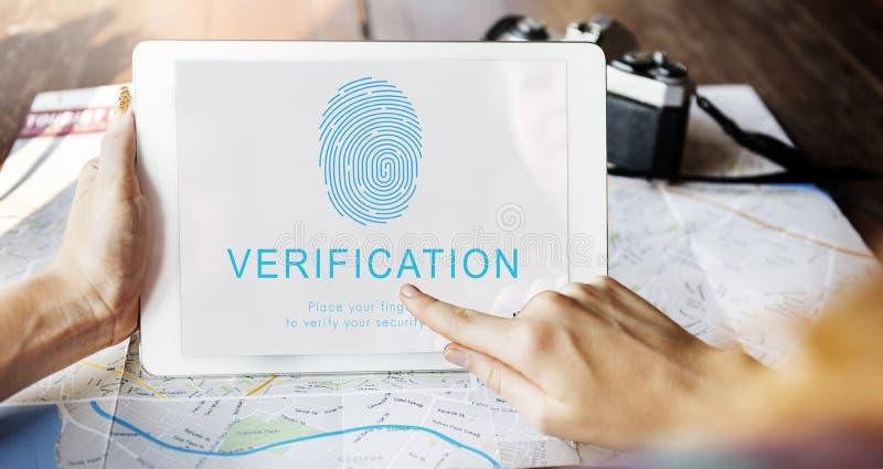 Conceito da tecnologia da biométrica da senha da impressão digital fotos de stock royalty free