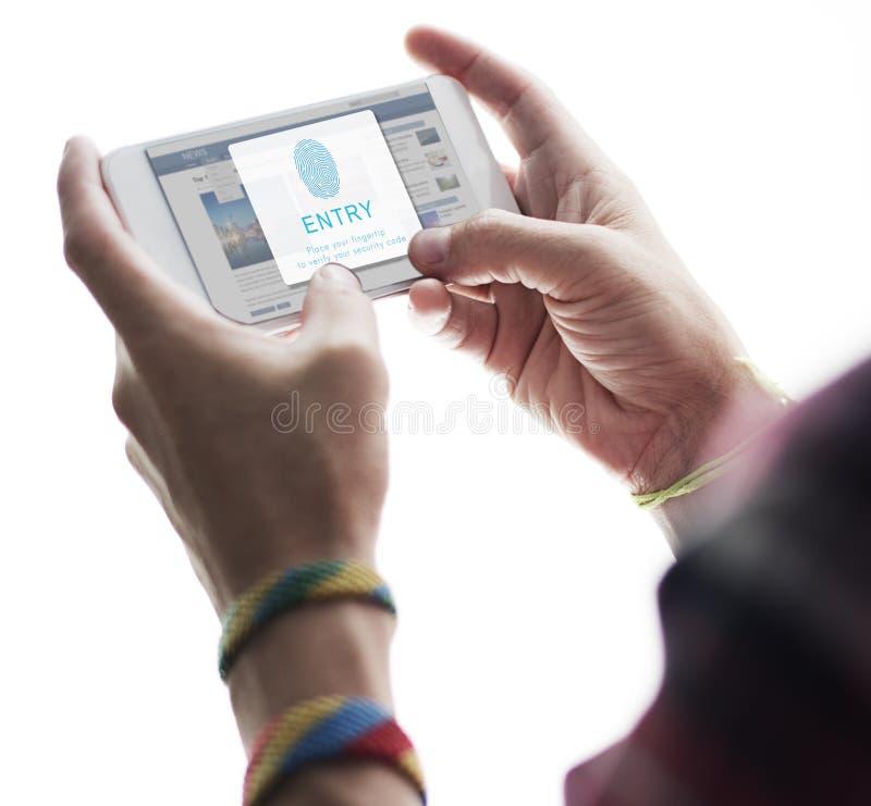 Conceito da tecnologia da biométrica da senha da impressão digital imagem de stock royalty free