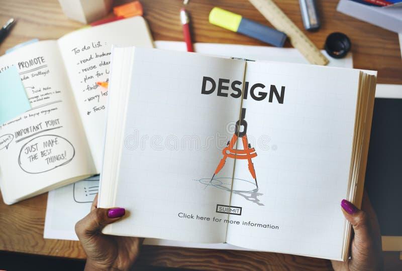 Conceito da tecnologia da engenharia de arquitetura do compasso do projeto imagem de stock