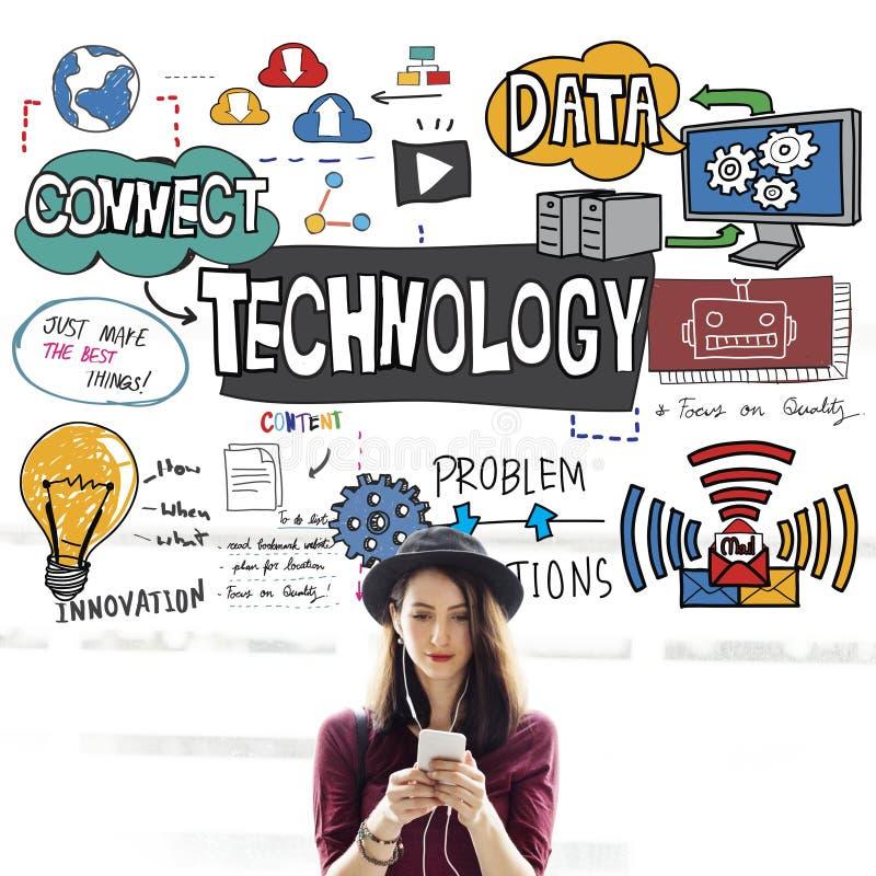 Conceito da tecnologia da inovação do Internet de Digitas dos dados da tecnologia foto de stock royalty free
