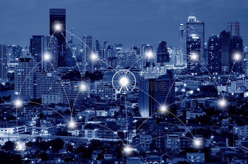 Conceito da tecnologia da rede e da conexão de Asiatique o rio imagens de stock royalty free