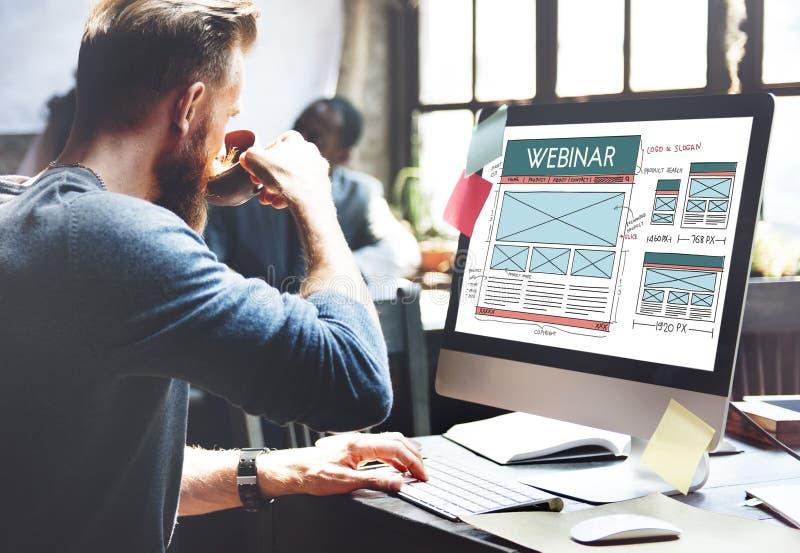 Conceito da tecnologia de aprendizagem da educação de computador de Webinar imagem de stock
