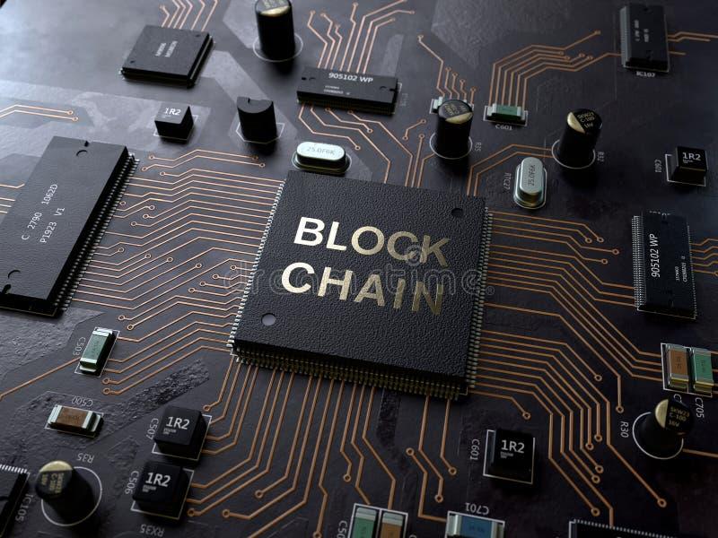 Conceito da tecnologia de Blockchain na placa de circuito foto de stock royalty free