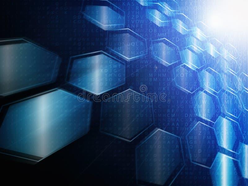 Conceito da tecnologia de Digitas, fundo abstrato com hexágonos ilustração stock