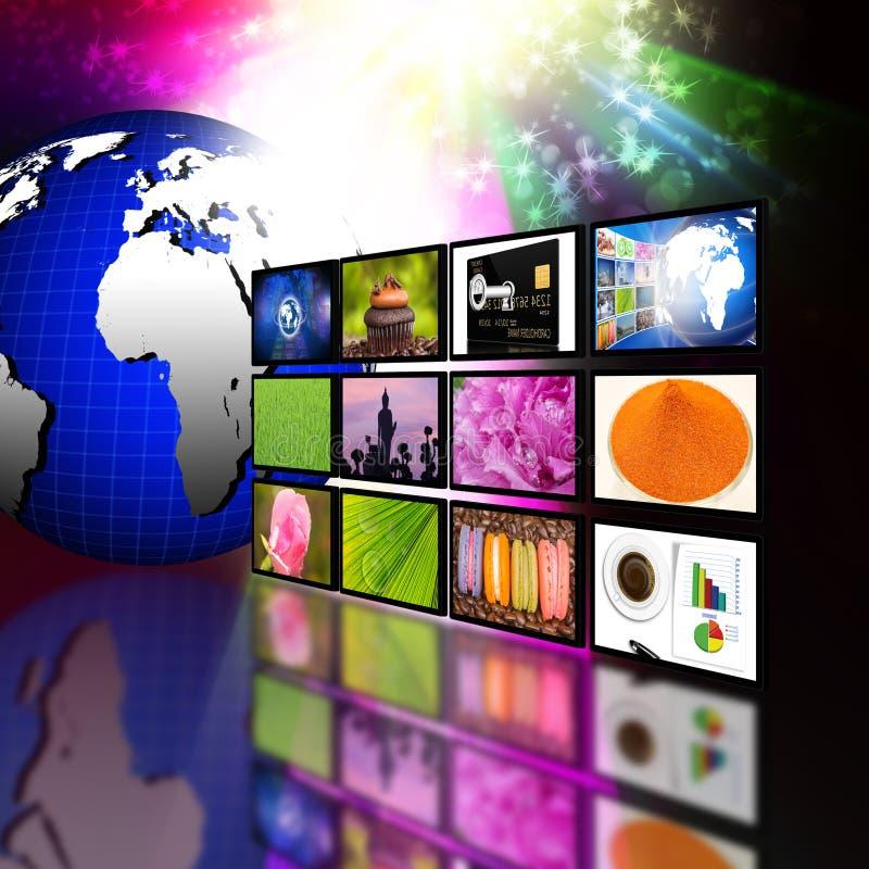 Conceito da tecnologia de produção da televisão e do Internet foto de stock