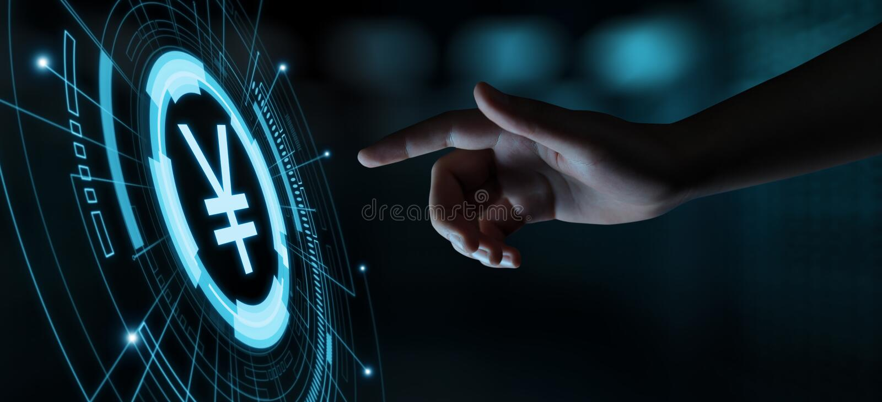 Conceito da tecnologia de Yen Currency Business Banking Finance fotografia de stock