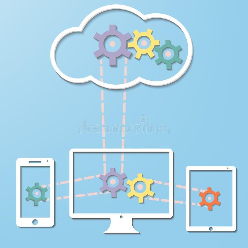 Conceito da tecnologia do Internet do computador da nuvem com Co ilustração stock