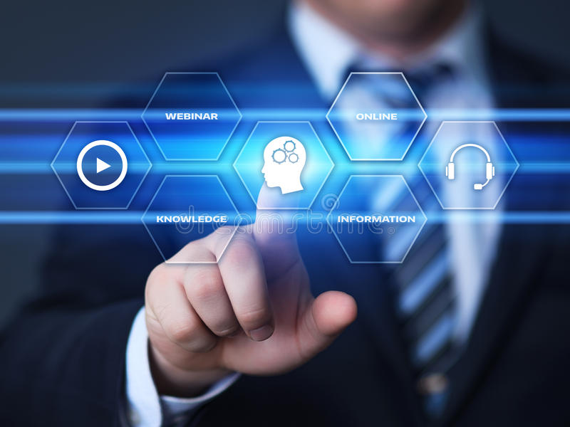 Conceito da tecnologia do Internet do negócio do treinamento do ensino eletrónico de Webinar imagem de stock