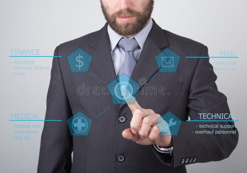 Conceito da tecnologia, do Internet e dos trabalhos em rede - homem de negócios que pressiona o botão do suporte laboral em telas imagens de stock royalty free