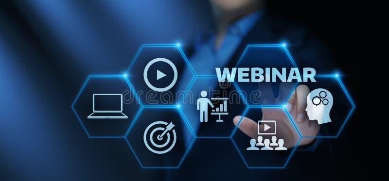 Conceito da tecnologia do Internet do negócio do treinamento do ensino eletrónico de Webinar fotografia de stock