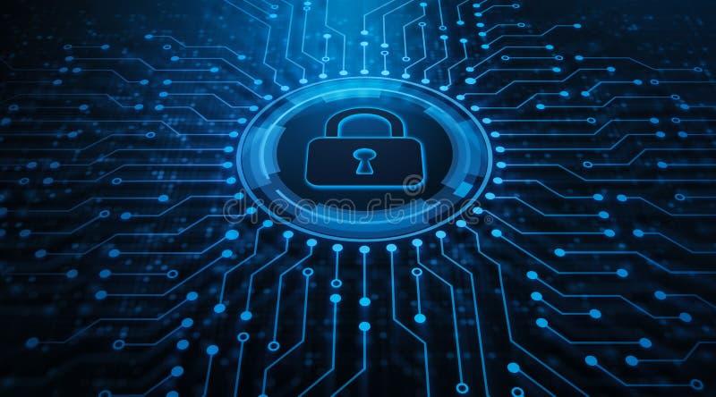 Conceito da tecnologia do Internet do neg?cio da privacidade da seguran?a do Cyber da prote??o de dados imagem de stock