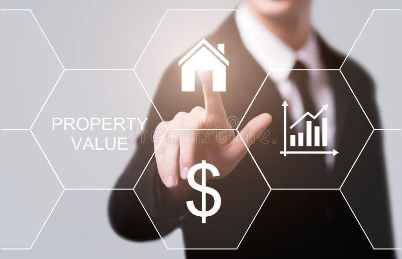 Conceito da tecnologia do negócio do Internet do mercado imobiliário do valor da propriedade foto de stock royalty free