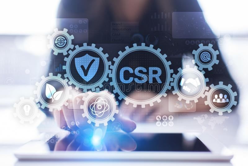 Conceito da tecnologia do negócio da responsabilidade social empresarial do CSR na tela virtual fotos de stock royalty free