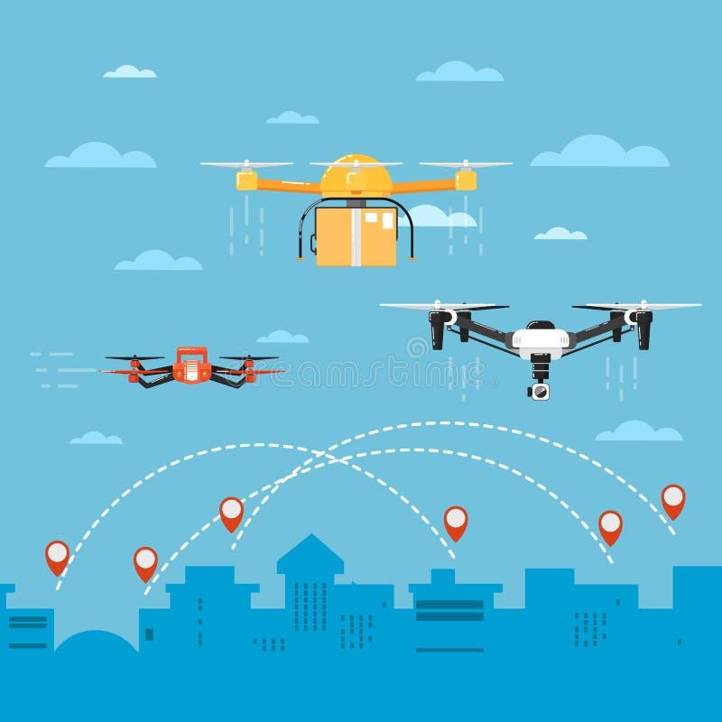 Conceito da tecnologia do zangão com robôs do voo ilustração royalty free