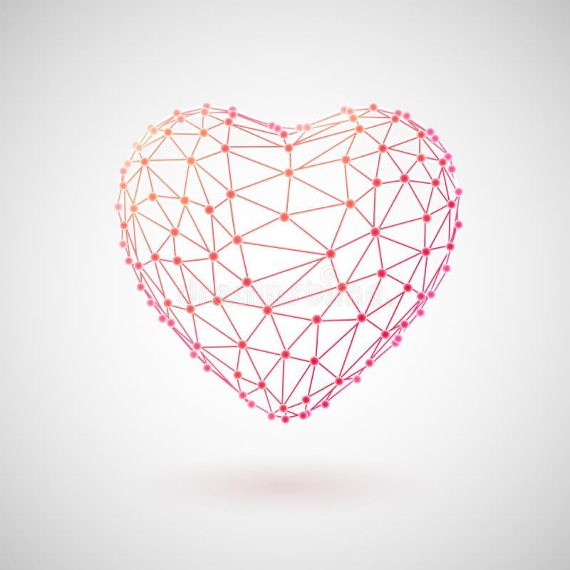 Conceito da tecnologia e de cuidados médicos médicos coração 3D poligonal ilustração stock