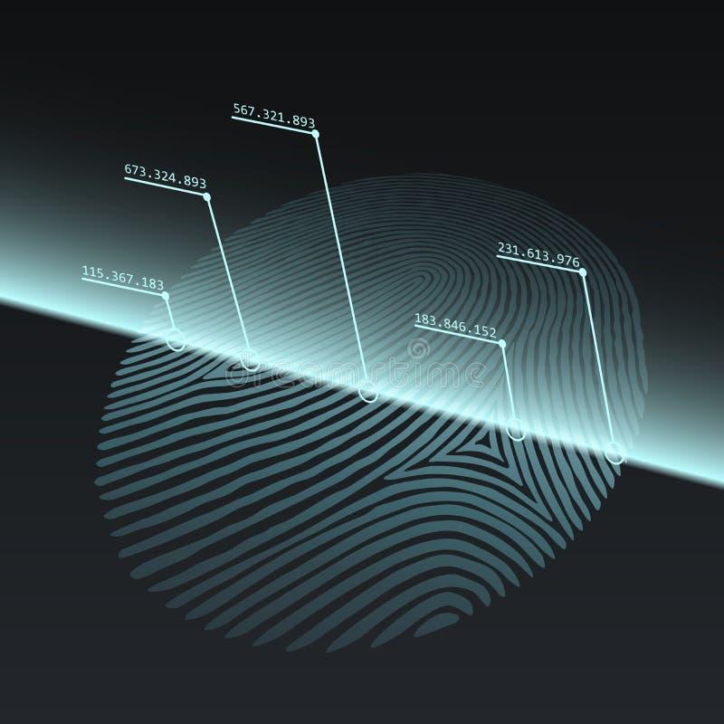 Conceito da tecnologia da impressão da impressão digital ilustração do vetor