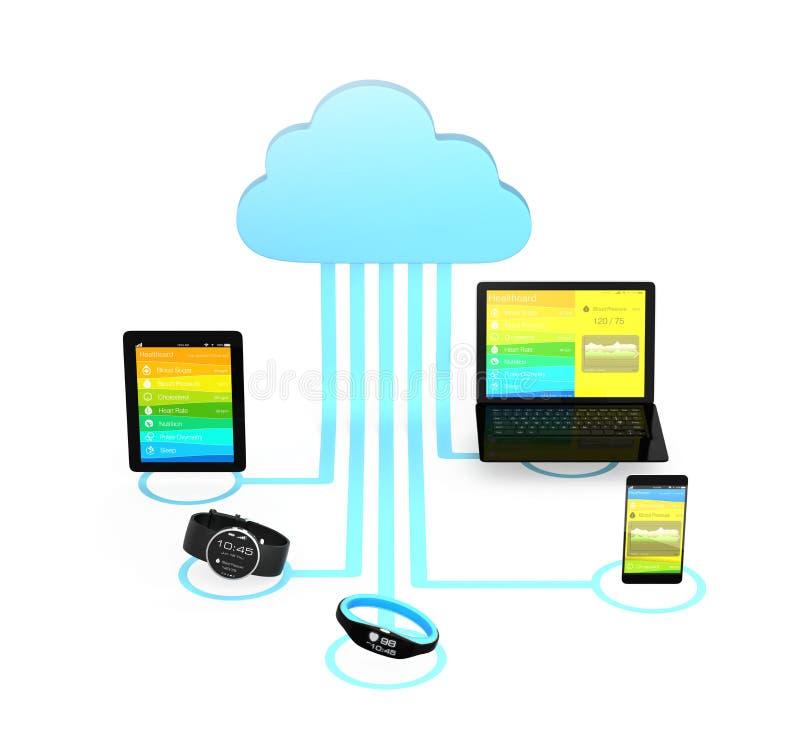 Conceito da tecnologia informática da nuvem dos cuidados médicos ilustração do vetor