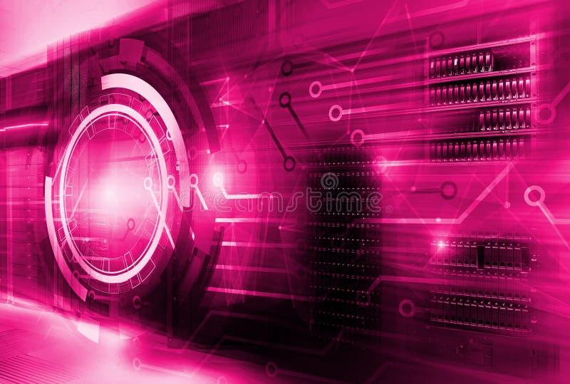 Conceito da tecnologia da informação, servidor do holograma do hud, vermelho, tom brilhante com placa de circuito dos contatos no ilustração stock