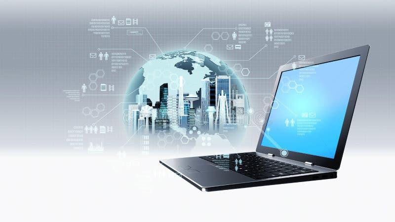 Conceito da tecnologia da informações na internet ilustração do vetor
