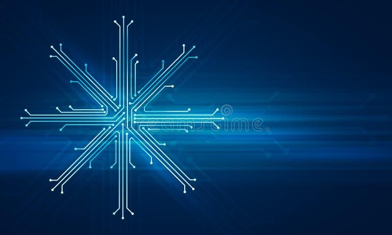 Conceito da tecnologia da microplaqueta de Showflake ilustração do vetor