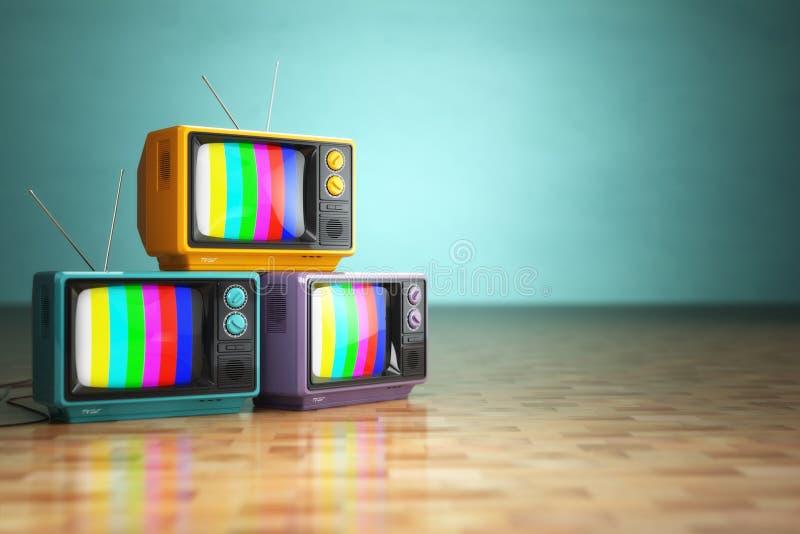 Conceito da televisão do vintage Pilha de aparelho de televisão retro no backg verde ilustração do vetor
