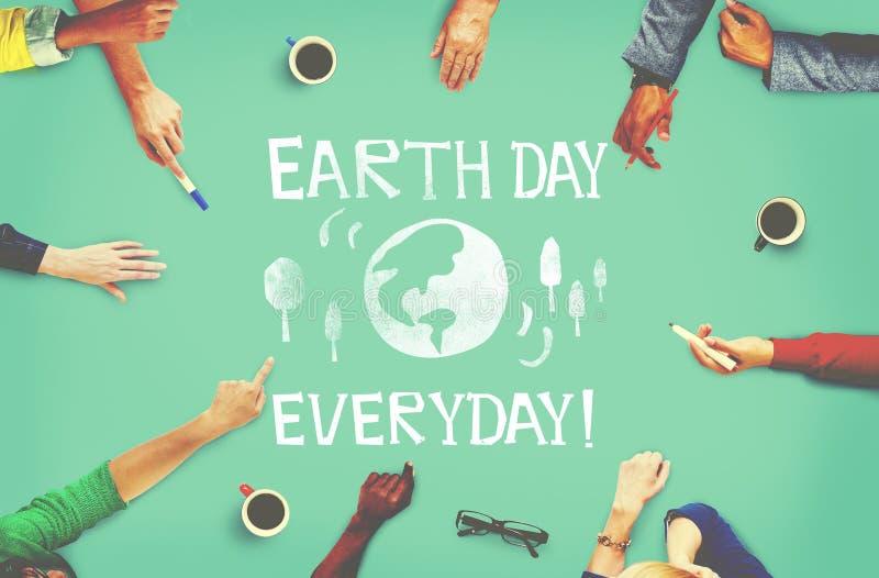 Conceito da terra das economias da ecologia do Dia da Terra foto de stock